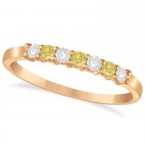 White & Yellow Diamond 7 Stone Wedding Band 14k Rose Gold (0.26ct)