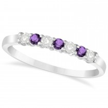 Diamond & Amethyst 7 Stone Wedding Band 14k White Gold (0.26ct)