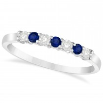 Diamond & Blue Sapphire 7 Stone Wedding Band 14k White Gold (0.26ct)
