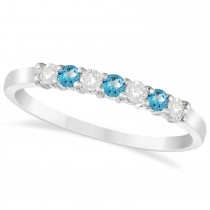 Diamond & Blue Topaz 7 Stone Wedding Band 14k White Gold (0.26ct)
