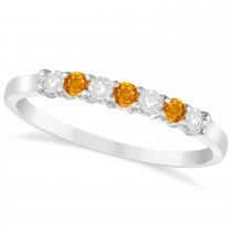 Diamond & Citrine 7 Stone Wedding Band 14k White Gold (0.26ct)