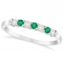 Diamond & Emerald 7 Stone Wedding Band 14k White Gold (0.26ct)