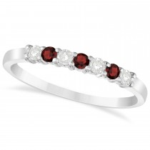 Diamond & Garnet 7 Stone Wedding Band 14k White Gold (0.26ct)