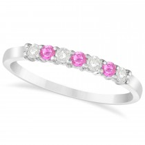 Diamond & Pink Sapphire 7 Stone Wedding Band 14k White Gold (0.26ct)