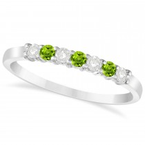 Diamond & Peridot 7 Stone Wedding Band 14k White Gold (0.26ct)