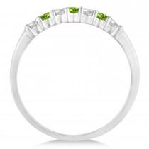 Diamond & Peridot 7 Stone Wedding Band 14k White Gold (0.26ct)