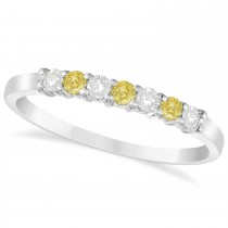 White & Yellow Diamond 7 Stone Wedding Band 14k White Gold (0.26ct)