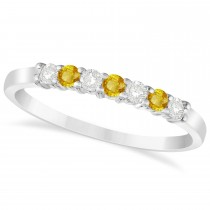 Diamond & Yellow Sapphire 7 Stone Wedding Band 14k White Gold (0.26ct)