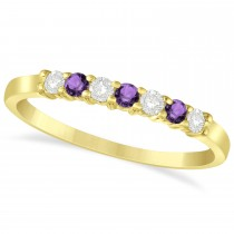 Diamond & Amethyst 7 Stone Wedding Band 14k Yellow Gold (0.26ct)