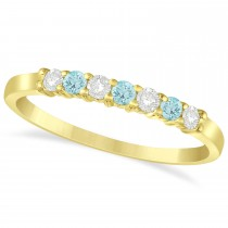 Diamond & Aquamarine 7 Stone Wedding Band 14k Yellow Gold (0.26ct)