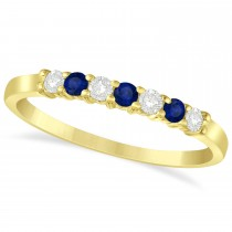 Diamond & Blue Sapphire 7 Stone Wedding Band 14k Yellow Gold (0.26ct)