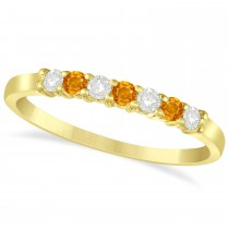 Diamond & Citrine 7 Stone Wedding Band 14k Yellow Gold (0.26ct)