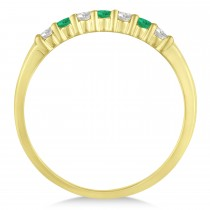 Diamond & Emerald 7 Stone Wedding Band 14k Yellow Gold (0.26ct)|escape