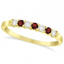 Diamond & Garnet 7 Stone Wedding Band 14k Yellow Gold (0.26ct)