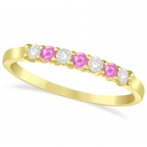 Diamond & Pink Sapphire 7 Stone Wedding Band 14k Yellow Gold (0.26ct)