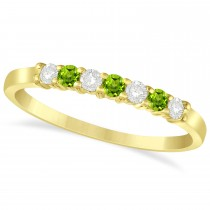 Diamond & Peridot 7 Stone Wedding Band 14k Yellow Gold (0.26ct)