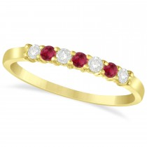 Diamond & Ruby 7 Stone Wedding Band 14k Yellow Gold (0.26ct)