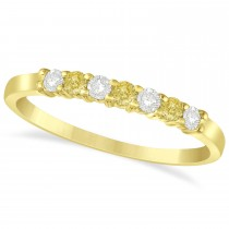 White & Yellow Diamond 7 Stone Wedding Band 14k Yellow Gold (0.26ct)