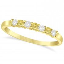 White & Yellow Diamond 7 Stone Wedding Band 14k Yellow Gold (0.26ct)