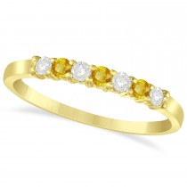 Diamond& Yellow Sapphire 7 Stone Wedding Band 14k Yellow Gold (0.26ct)