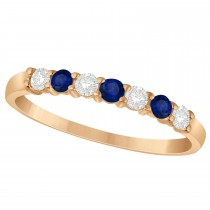 Diamond & Blue Sapphire 7 Stone Wedding Band 14k Rose Gold (0.34ct)