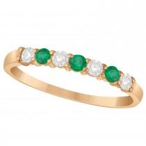 Diamond & Emerald 7 Stone Wedding Band 14k Rose Gold (0.34ct)