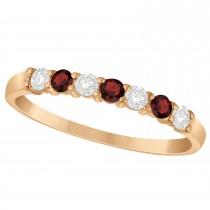Diamond & Garnet 7 Stone Wedding Band 14k Rose Gold (0.34ct)