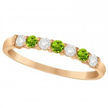 Diamond & Peridot 7 Stone Wedding Band 14k Rose Gold (0.34ct)