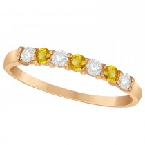 Diamond & Yellow Sapphire 7 Stone Wedding Band 14k Rose Gold (0.34ct)