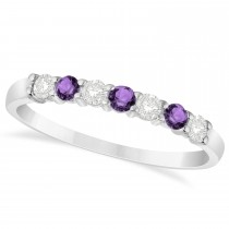 Diamond & Amethyst 7 Stone Wedding Band 14k White Gold (0.34ct)