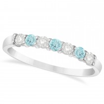 Diamond & Aquamarine 7 Stone Wedding Band 14k White Gold (0.34ct)