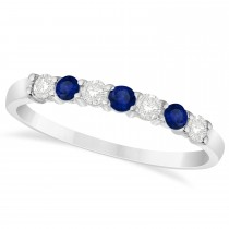 Diamond & Blue Sapphire 7 Stone Wedding Band 14k White Gold (0.34ct)