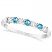Diamond & Blue Topaz 7 Stone Wedding Band 14k White Gold (0.34ct)