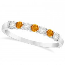 Diamond & Citrine 7 Stone Wedding Band 14k White Gold (0.34ct)