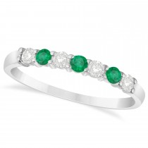 Diamond & Emerald 7 Stone Wedding Band 14k White Gold (0.34ct)