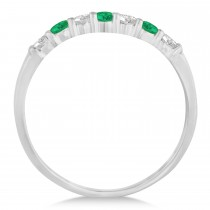 Diamond & Emerald 7 Stone Wedding Band 14k White Gold (0.34ct)|escape