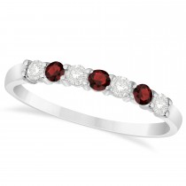 Diamond & Garnet 7 Stone Wedding Band 14k White Gold (0.34ct)