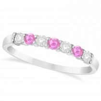 Diamond & Pink Sapphire 7 Stone Wedding Band 14k White Gold (0.34ct)