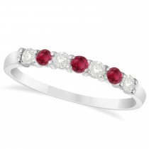 Diamond & Ruby 7 Stone Wedding Band 14k White Gold (0.34ct)