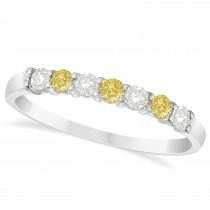 White & Yellow Diamond 7 Stone Wedding Band 14k White Gold (0.34ct)