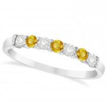 Diamond & Yellow Sapphire 7 Stone Wedding Band 14k White Gold (0.34ct)