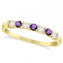 Diamond & Amethyst 7 Stone Wedding Band 14k Yellow Gold (0.34ct)