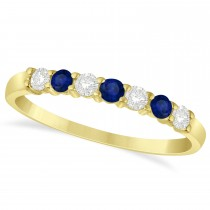 Diamond & Blue Sapphire 7 Stone Wedding Band 14k Yellow Gold (0.34ct)