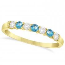 Diamond & Blue Topaz 7 Stone Wedding Band 14k Yellow Gold (0.34ct)