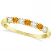 Diamond & Citrine 7 Stone Wedding Band 14k Yellow Gold (0.34ct)
