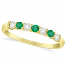 Diamond & Emerald 7 Stone Wedding Band 14k Yellow Gold (0.34ct)