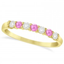 Diamond & Pink Sapphire 7 Stone Wedding Band 14k Yellow Gold (0.34ct)
