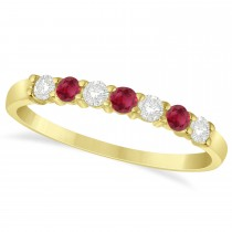 Diamond & Ruby 7 Stone Wedding Band 14k Yellow Gold (0.34ct)