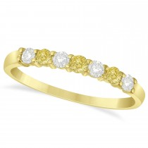 White & Yellow Diamond 7 Stone Wedding Band 14k Yellow Gold (0.34ct)
