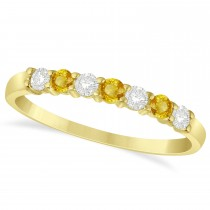 Diamond& Yellow Sapphire 7 Stone Wedding Band 14k Yellow Gold (0.34ct)